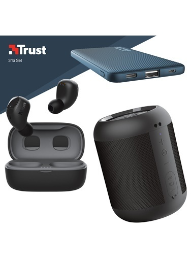 Trust Trust Nika Compact Siyah Bluetooth Kulaklık ve Mavi Powerbankli 3'lü Hediye Seti Renkli